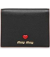 miu miu madras leather wallet - black