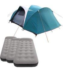 barraca camping nautika laredo até 9 pessoas + 3 colchões solteiro inflável star aveludado