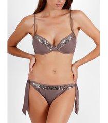 bikini admas 2-delig push-up bikiniset helder pailletten chocolade