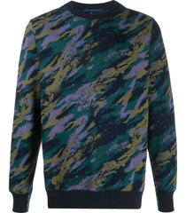 ps paul smith camouflage-print organic cotton sweatshirt - blue
