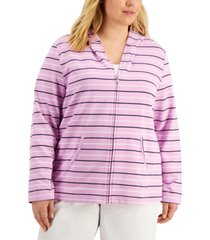 karen scott plus size rachel striped hoodie, created for macy's