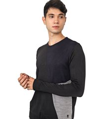 suéter polo wear tricot recorte preto/azul-marinho - kanui