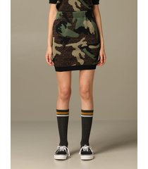 moschino couture skirt moschino couture pencil skirt in camouflage wool with logo all over