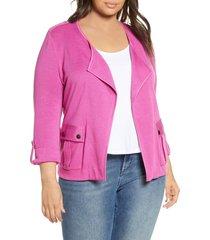 plus size women's nic+zoe in flight linen blend knit jacket
