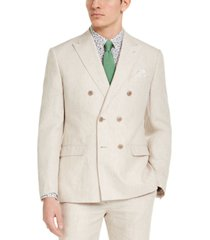 bar iii men's slim-fit tan solid double-breasted suit jacket, created for macy's