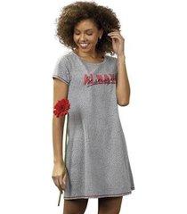 camisola heart print em algodão diário íntimo feminina - feminino