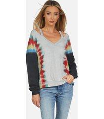 swanson le rainbow stripe pullover - rainbow stripe tie dye xs