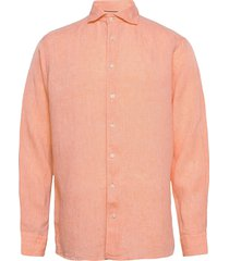slim fit business casual linen shirt overhemd casual oranje eton