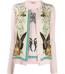roberto cavalli floral and animal print cardigan - pink