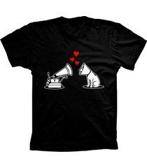 camiseta baby look lu geek amor de cão preto
