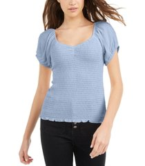 planet gold juniors' puff-sleeve crinkle top