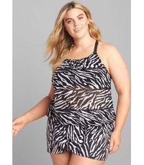 lane bryant women's mesh blouson no-wire swim tankini top 28 zebra
