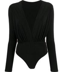 alchemy v-neck long-sleeved bodysuit - black
