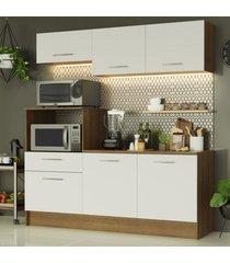 cozinha compacta madesa onix 180001 com armário e balcão - rustic/branco marrom