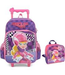kit infantil mochila de rodinhas e lancheira luxcel penelope pitstop roxa