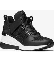 mk sneaker georgie in pelle e nylon con decorazioni - nero (nero) - michael kors