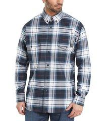 wolverine men's fr plaid long sleeve twill shirt navy plaid, size xxl