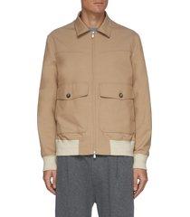 contrast cuff flap pocket zip up wool cotton blend jacket