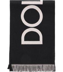 dolce & gabbana logo wool scarf