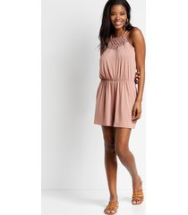 maurices womens solid macrame neck pocket romper brown