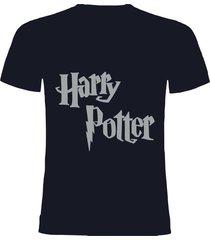 camiseta azul oscuro  harry potter plateado