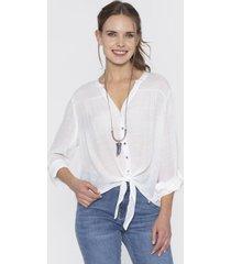 blusa manga larga roll up con nudo blanco curvi