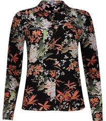 camisa estampado floral color negro, talla 6