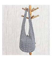 cotton hobo shoulder bag, 'sweet indigo' (thailand)