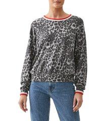 women's michael stars tate animal print sweater, size small - grey