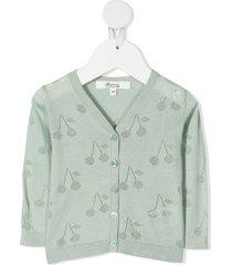 bonpoint open cherry knit cardigan - green