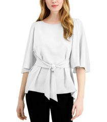 alfani tie-front flutter-sleeve top, created for macy's