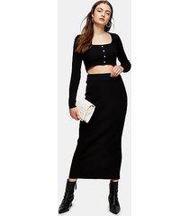 black midi knitted skirt - black
