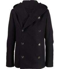 balmain black virgin wool-blend coat