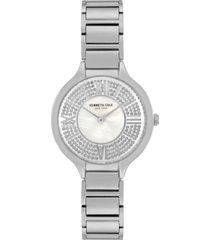 kenneth cole new york women's silver-tone stainless steel bracelet watch, 33mm