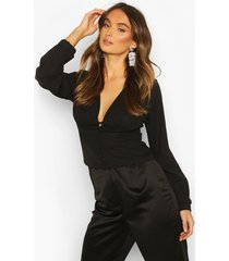 button waist plunge woven blouse, black