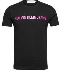 institutional slim logo tee t-shirts short-sleeved svart calvin klein jeans