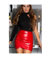 sexy faux leder ruffled rok rood