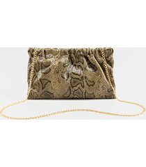 amiee ruched snap snake clutch - olive