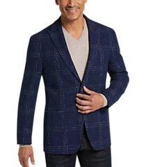 joseph abboud blue plaid slim fit sport coat