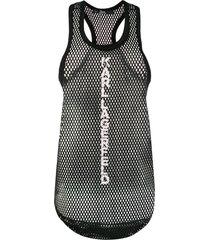 karl lagerfeld mesh vest top - black