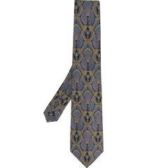 gianfranco ferré pre-owned 1990 peacock print tie - purple