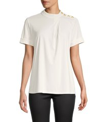 karl lagerfeld paris women's buttoned short-sleeve top - ivory - size l