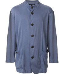 issey miyake pre-owned mandarin collar relaxed jacket - blue