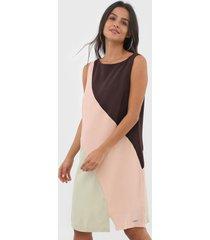 vestido forum curto color block rosa/verde - rosa - feminino - viscose - dafiti