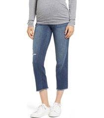 1822 denim cassie crop straight leg maternity jeans, size 29 at nordstrom