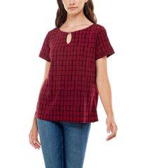 adrienne vittadini women's short sleeve layered top