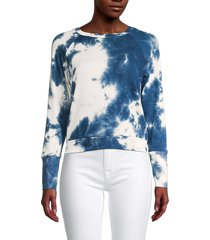 tiana b women's yummy suits raglan-sleeve tie-dyed top - blue white - size s