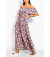 bloemenprint maxi jurk met open schouders, blauw
