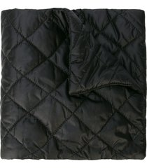 chanel pre-owned quilted logo scarf - black