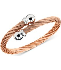 charriol unisex celtic twisted cable bracelet in rose gold-plated stainless steel